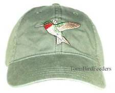 Ruby-throated Hummingbird  Embroidered Cotton Cap NEW