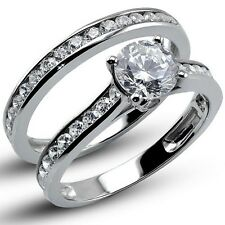 1.60 CT Round Cut Lab Engagement Ring with Matching Band Solid 14K White Gold