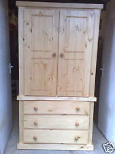 AYLESBURY PINE TALL BOY LINEN PRESS NO FLAT PACKS WITH 2 INTERNAL SHELVES