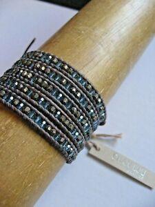 Chan Luu Bracelet Wrap Blue Mirage Crystal Pyrite 4 - 5 times Brown Sterling NWT