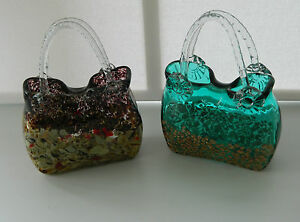GORGEOUS STUNNING 3D ART GLASS HANDBAG SHAPED VASE DECORATIVE SINGLE OR DOUBLE