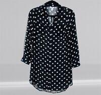 Old Navy Womens Size XS Black Polka Dots Long Sleeve Button Down Tunic Shirt
