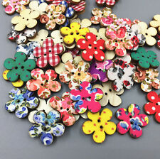 50pcs Wooden Flowers buttons Cloth Printing Sewing decoration scrapbooking 20mm