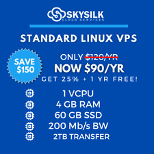 SAVE $150 YEARLY Linux VPS | 1 vCPU | 4GB RAM | 60GB SSD