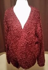 Kensie Open Front Eyelash Cardigan Sweater Women's Size XL Maroon SOFT NWT!