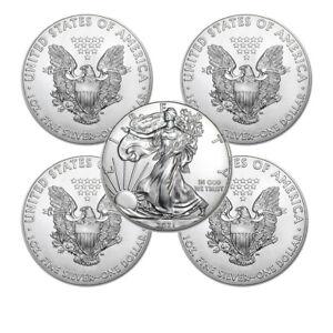 Lot of 5 - 2021 1 oz American Eagle .999 Fine Silver BU Coin BRAND NEW!