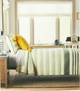 Hearth & Hand with Magnolia 100% Cotton Kid's Striped Quilt Twin Green Striped
