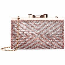 Womens Rhinestone Clutch Purse Evening Bags Bow Closure (Rose Gold -Pattern 2)