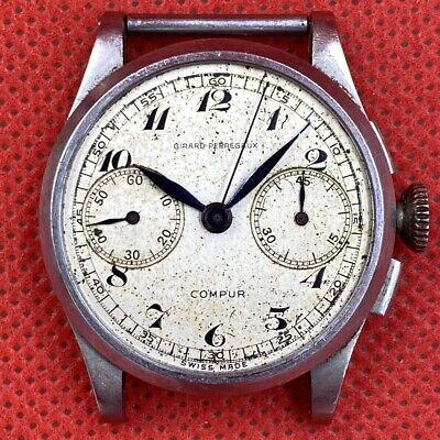 1940's Girard Perregaux Compur 2 Reg Chronograph Vintage 17J Swiss Watch Cal 281