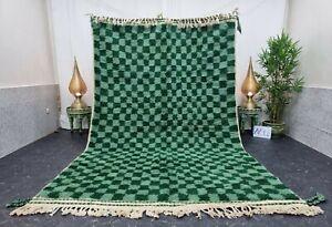 "Moroccan Handmade Beni Ourain Rug 6'6""x10'6"" Berber Checkered Green Wool Carpet"
