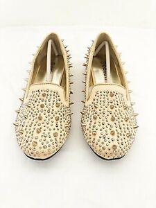 New Ladies Gold Embellished Loafer Shoe