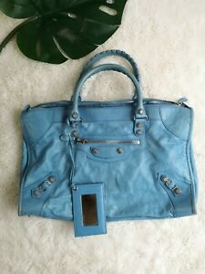 Balenciaga large leather bag blue EUC