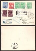 Yugoslavia, 1934 multifranked registered air mail postcard to Austria     -BN92