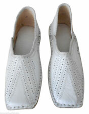 Men Shoes Traditional Indian Handmade Leather White Loafers Jutties US 8