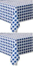 """(2) Blue gingham Plastic Party Table Cloth 54"""" x 108"""" ~ New"""