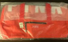 NWT Victorias Secret Neon Coral Red Duffel Gym bag Tote Black Water Bottle Straw