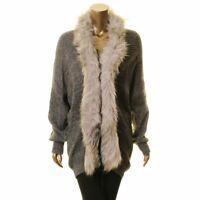 CLICHE Women's Charcoal Faux-fur Trim Wool Blend Cardigan Sweater Top XS TEDO
