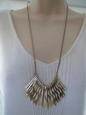 Lucky BRAND White Enamel Gold Tone Paddle Necklace Adjustable Slide Chain