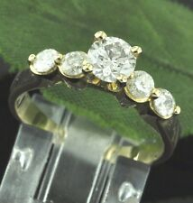 0.90 ct 14k Solid Yellow Gold Ladies Engagement Diamond Ring  Pre-owned 5 stone