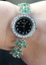14.25 Carat  Emerald Watch / Columbian Emerald Tennis Bracelet Watch /174.45 tcw