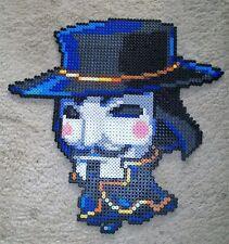 Guy Fawkes, V  for Vendetta kandi perler necklace, rave, EDC, PLUR