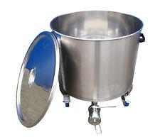 Edelstahlbehälter 173 Liter auf Rollen mit Deckel Behälter Tank Edelstahl Kessel