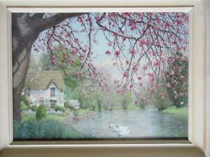 Spring on the River, Vintage Oil by Laurence Crosby. Swans + Blossom Rural Idyll