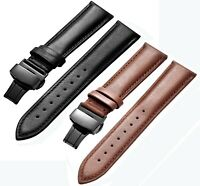 New Genuine Calf Leather Black/Brown Watch Strap with Stainless Deployment Clasp