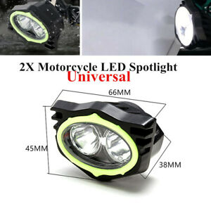 2x6500K Motorcycle Bike LED Spotlight Rearview Mirror Lighting Beam Driving lamp