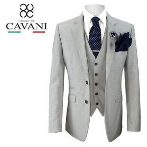 Mens Cavani Designer Fashion Tailored Fit Light Grey Summer Wedding 3 Piece Suit