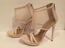 BCBG Max Azria Ferned Sandals Heel Leather Mesh Natural 8 M/38 $275 Worn Once