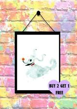 BUY 2 GET 1 FREE Nightmare Before Christmas Zero Dog Ghost Print Poster A4