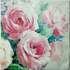ROSES WATERCOLOR PINK 2 single LUNCH SIZE paper napkins for decoupage 3-ply