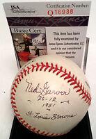 """Ned Garver """"21 Wins 1951 Browns"""" Frank Howard Karl Swanson Signed Baseball JSA"""