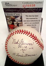 "Ned Garver ""21 Wins 1951 Browns"" Frank Howard Karl Swanson Signed Baseball JSA"