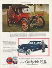 1953 Gulf PRINT AD feat: 1913 American Underslung Red & '53 DeSoto Blue
