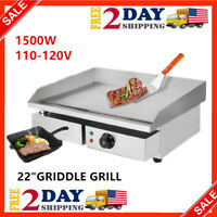 """Electric Griddle Flat Top Grill 1500W 22"""" Hot Plate BBQ Countertop Home US"""