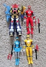 POWER RANGERS NINJA FORCE LEGACY LOT 4 MEGAZORD BLUE RED YELLOW SET BAF