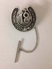 Horseshoe 18 R179 Tie Pin With Chain English Pewter Handmade In Sheffield