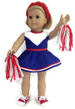"""Cheerleading Set w/Pom Poms & Schrunchie made for 18"""" American Girl Doll Clothes"""