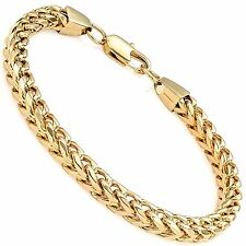 "MENDINO Men's Stainless Steel Bracelet Curb Chain Polished Gold 8.5"" 6mm Wide"