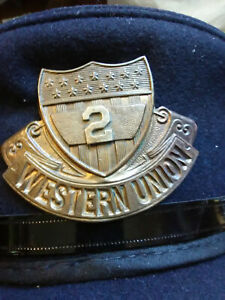 Rare Western Union Telegraph Badge Brass Stars & Stripes Shield