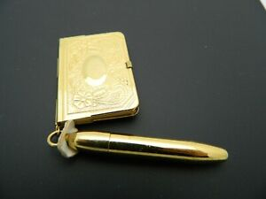 1940s Gold Tone Metal Mini Dance Card Book with Pen Vintage