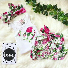 Toddler Kid Newborn Baby Girl Clothes Set Floral T Shirt Tops+Shorts 2pcs Outfit