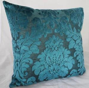 Turquoise Flocked Velvet Home Decor Pillow Case Cushion Cover 45cm