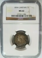 1894 Great Britain Silver Shilling NGC MS 62 Toned Toning 1s Queen Victoria