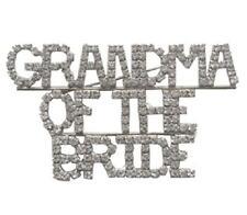"Clear Rhinestone ""GRANDMA OF THE BRIDE"" Brooch Pin"