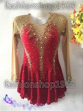 New Ice Figure Skating Dress  Baton Twirling Dress red gradual dress  xx296