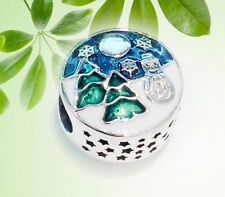AUTHENTIC PANDORA SILVER BEAD CHARM 796384enmx SNOWY WINTER WONDERLAND NEW
