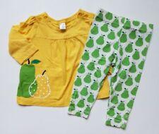 Girls Baby Gap Pears Play Shop Yellow Green Shirt Leggings Outfit Lot 12 18 24